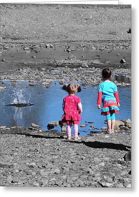 Throwing Stones Greeting Card by Paul Ward