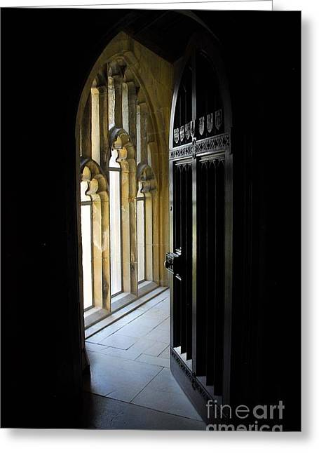 Greeting Card featuring the photograph Thru The Chapel Door by Cindy Manero