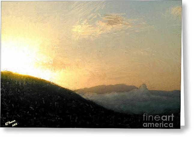 Thumb Butte Greeting Card by Arne Hansen