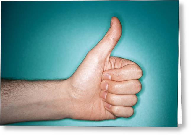 Thumbs Up Sign Greeting Card by Lawrence Lawry