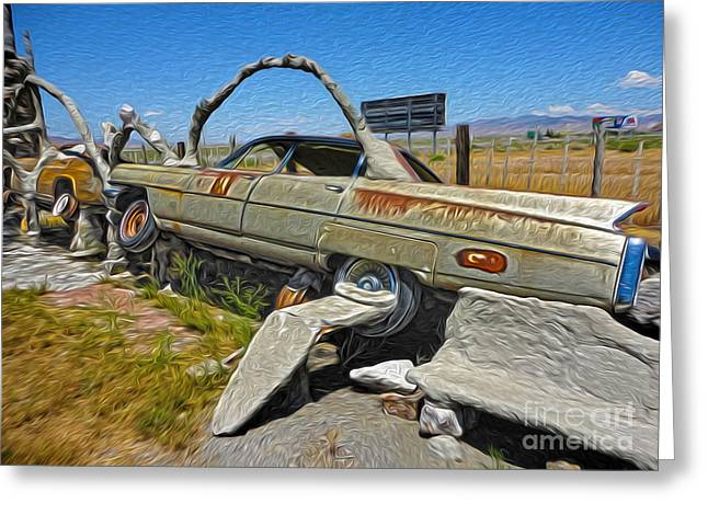 Thunder Mountain Indian Monument - Car Wrecks Greeting Card by Gregory Dyer