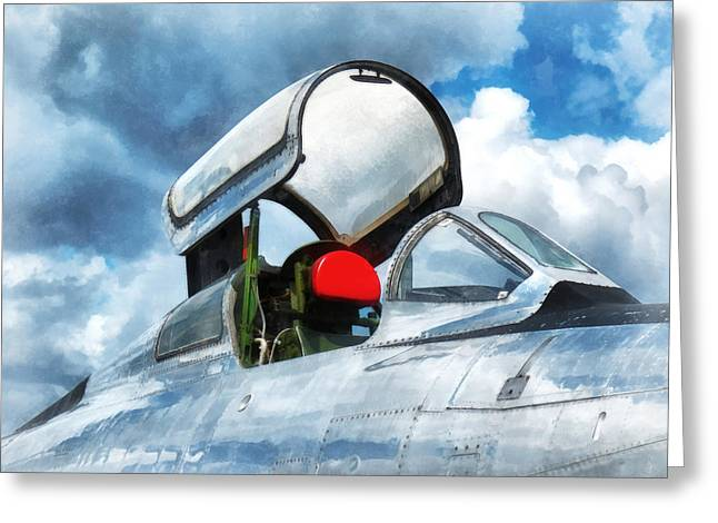 Thunderstreak Turbojet Cockpit Greeting Card by Susan Savad