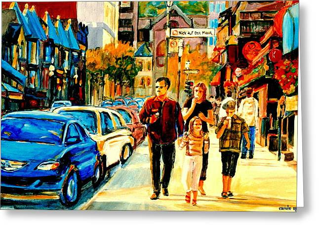 Thursdays Pub On Crescent Street Montreal City Scene Greeting Card by Carole Spandau