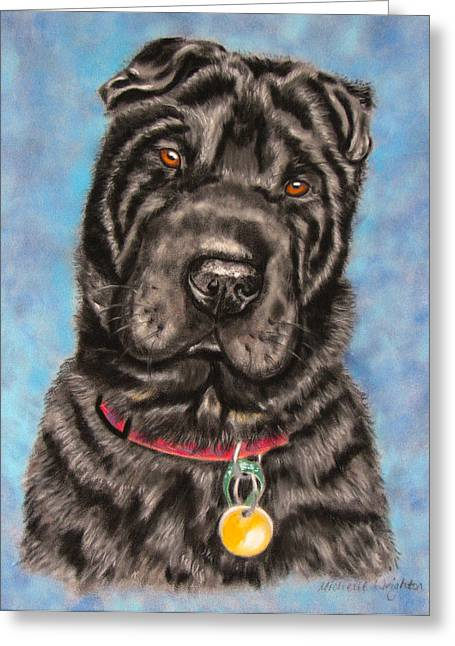 Tia Shar Pei Dog Painting Greeting Card by Michelle Wrighton