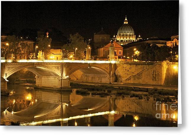 Tiber River And Ponte Vittorio Emanuele II Bridge With St. Peter's Basilica. Vatican City. Rome Greeting Card by Bernard Jaubert