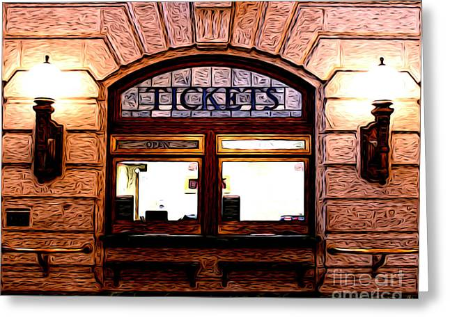 Ticket Booth Greeting Card by Anne Raczkowski