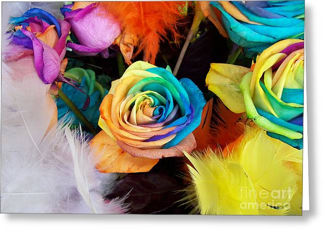 Greeting Card featuring the photograph Tie Dyed Roses In Japan by Cheryl McClure