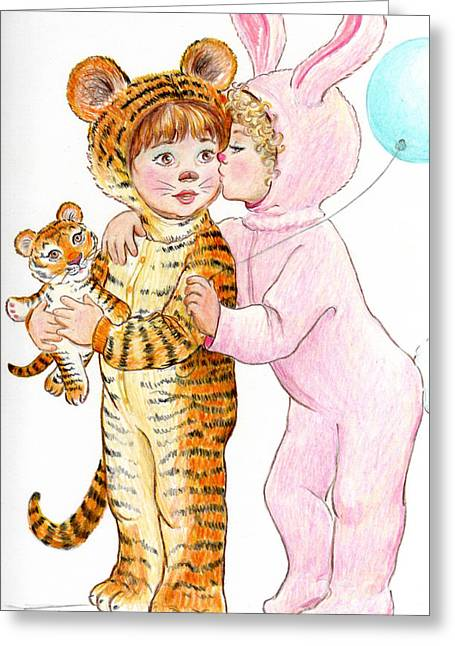 Tiger And Bunny In The Children's Parade Greeting Card