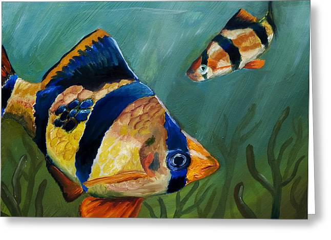Tiger Barbs Greeting Card by Anthony Cavins