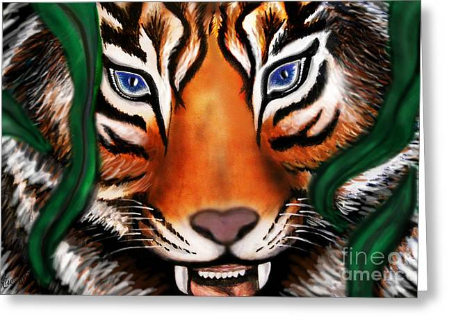 Tiger Greeting Card by Christine Mayfield