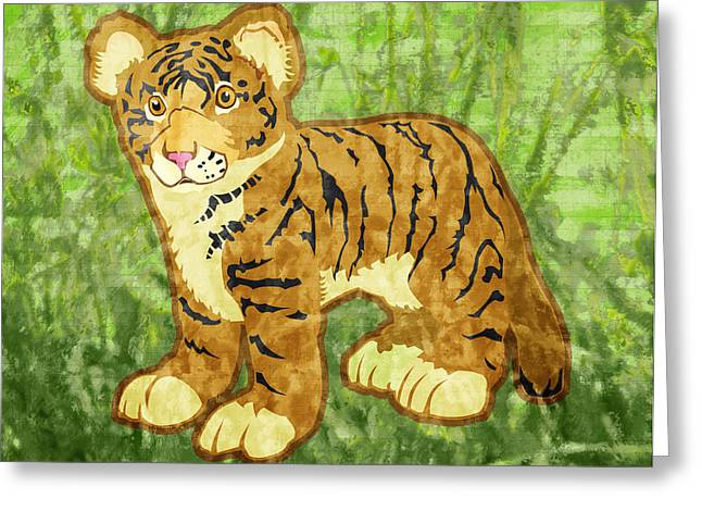 Tiger Cub Greeting Card by Mary Ogle