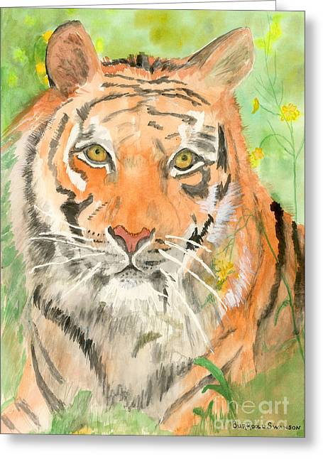 Tiger In The Meadow Greeting Card