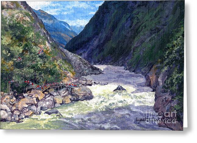 Tiger Leaping Gorge Greeting Card by Lynette Cook