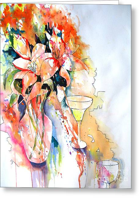 Tiger Lilies Greeting Card by Vicki Brevell