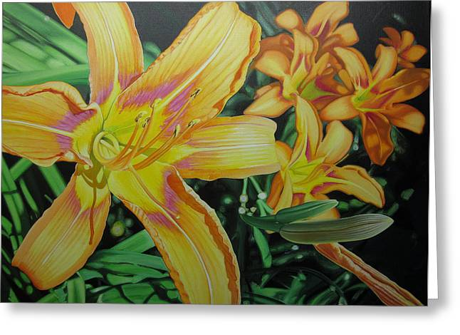 Tiger Lillies In Bloom Greeting Card by Jeff Taylor