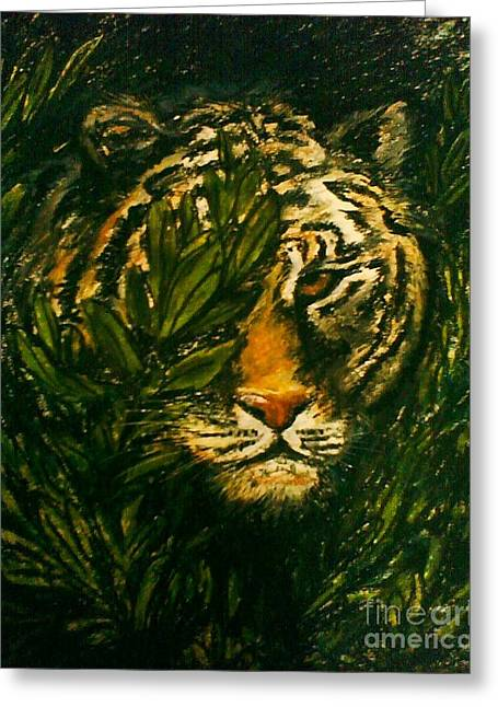 Tiger On The Prowl Greeting Card by C Ballal
