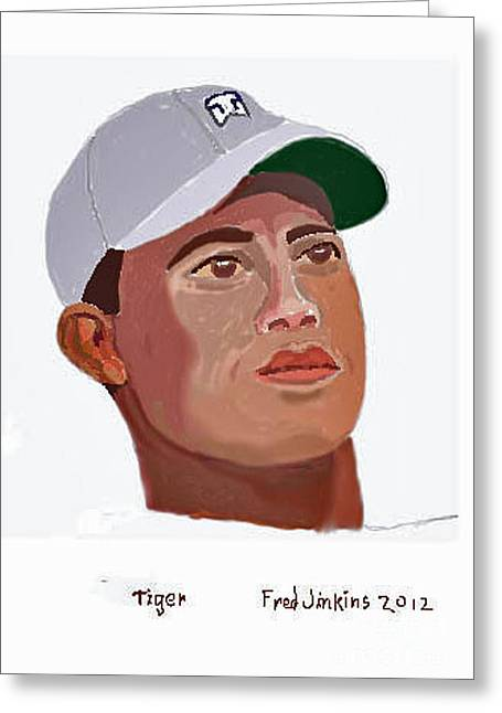 Tiger Portrait Greeting Card by Fred Jinkins