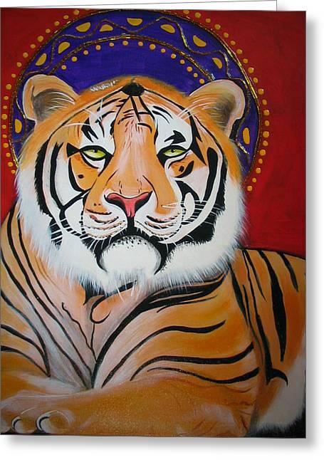 Tiger Saint Greeting Card by Christina Miller