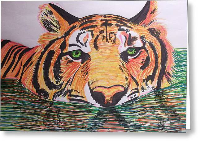 Tiger Greeting Card by Sharon Tuff