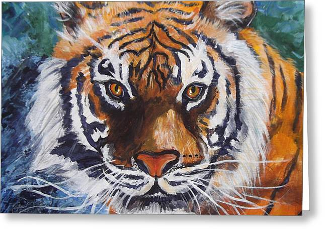 Tiger Greeting Card by Trudy Morris