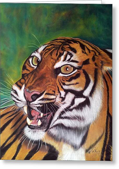 Tiger Greeting Card by Ursula  Thuleweit Laranjeiro