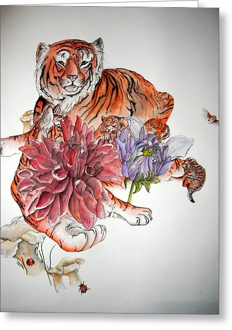 Greeting Card featuring the painting Tigers The Color Of Orange by Debbi Saccomanno Chan
