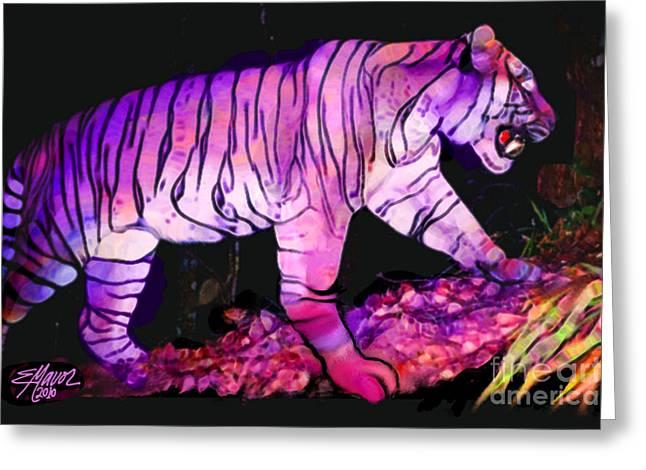 Tigertasia Greeting Card by Elinor Mavor