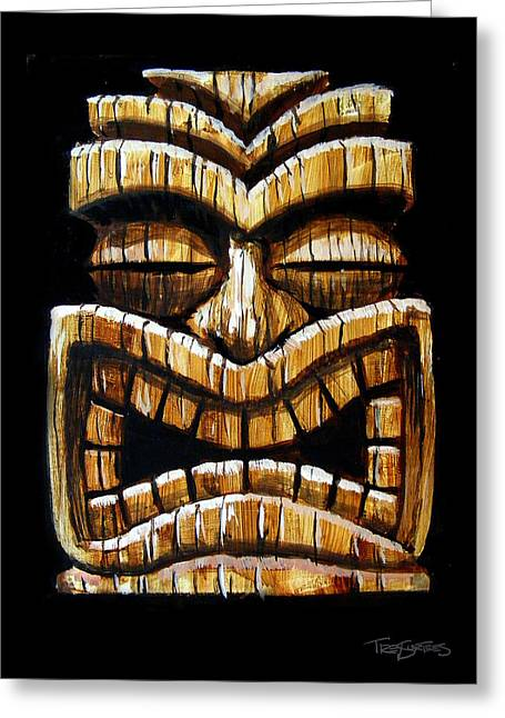Tiki Head Greeting Card by Trey Surtees