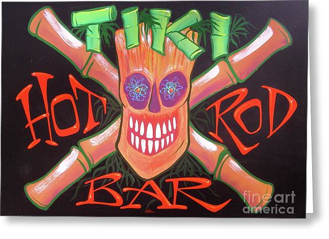 Tiki Hot Rod Bar Greeting Card by Alan Johnson
