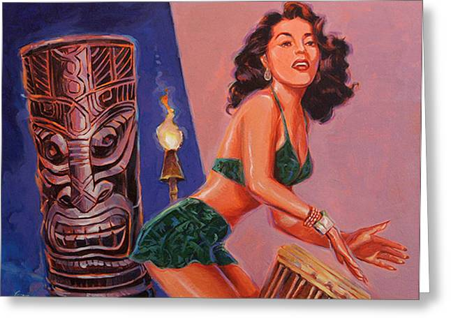 Tiki Tarts- She's Gone With The Hula Hula Boys Greeting Card by Shawn Shea