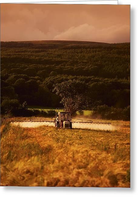 Tillage, Crop Spraying, Ireland Greeting Card by The Irish Image Collection