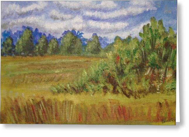 Greeting Card featuring the painting Tillar Field by Belinda Lawson