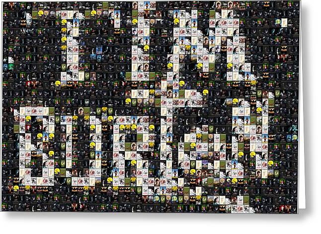 Tim Burton Poster Collection Mosaic Greeting Card by Paul Van Scott