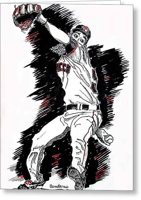 Greeting Card featuring the painting Tim Lincecum by Terry Banderas