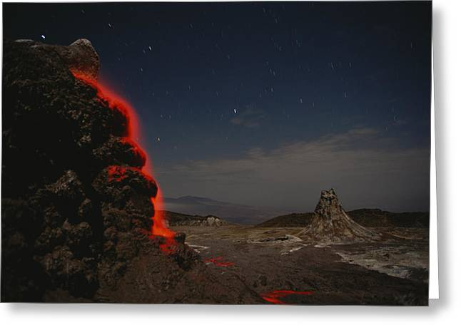Time Exposure Of Flowing Lava Greeting Card by Carsten Peter