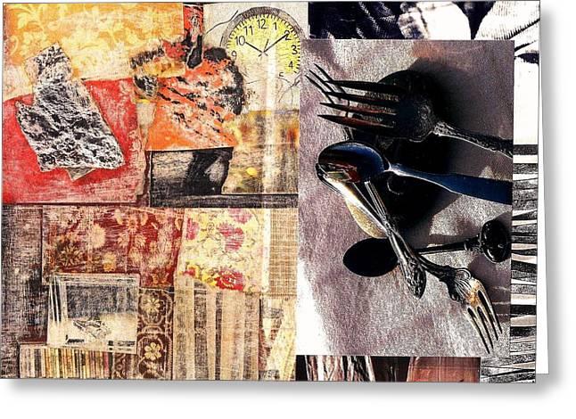 Time Flies Silverware Fades Greeting Card by Jann Sage