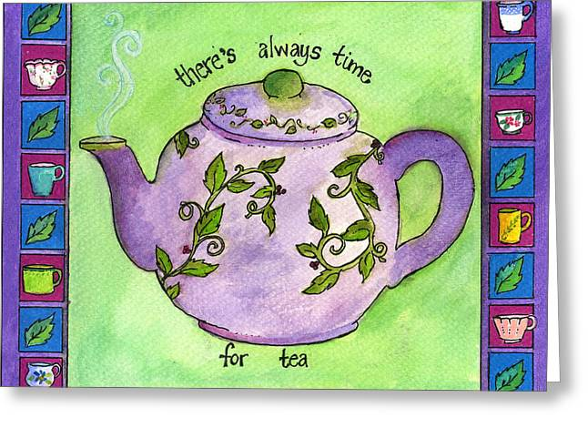 Time For Tea Greeting Card by Pamela  Corwin