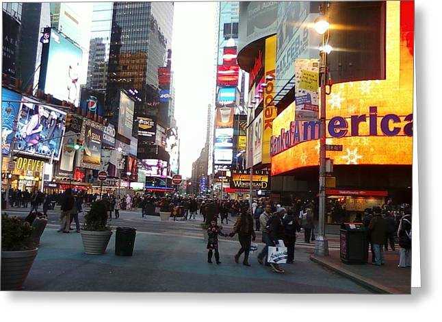 Time Square Greeting Card by Cecelia Taylor-Hunt