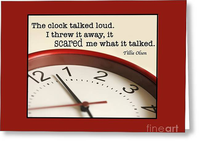 Time Talks Greeting Card by Nancy Greenland