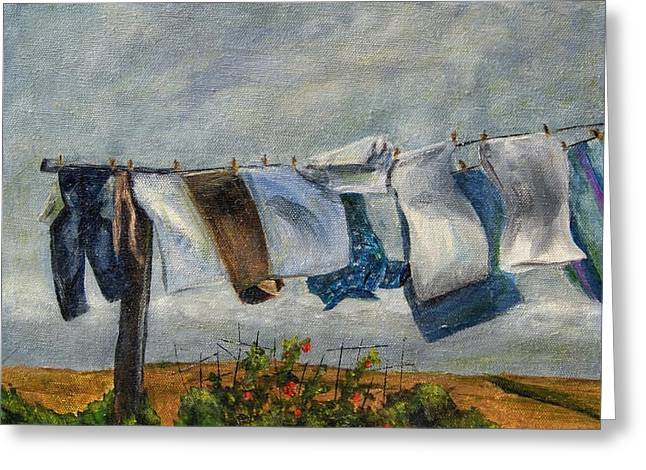 Greeting Card featuring the painting Time To Take In The Laundry by Terry Taylor