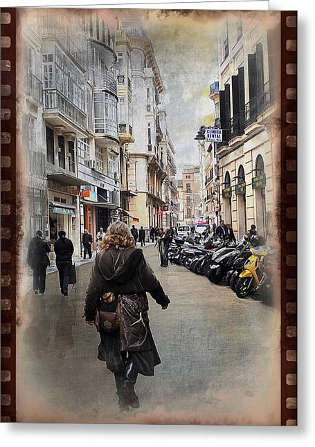 Time Warp In Malaga Greeting Card by Mary Machare