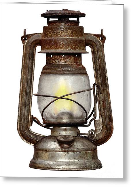 Time Worn Kerosene Lamp Greeting Card by Michal Boubin