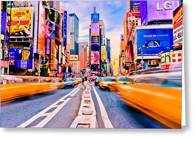 Times Square Greeting Card by David Hahn