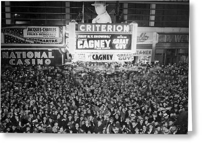 Times Square Election Crowds Greeting Card