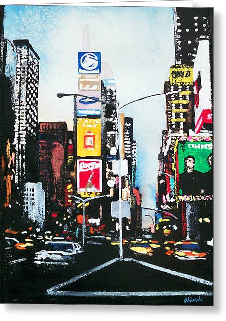 Times Square Nyc Greeting Card by Ann Marie Napoli