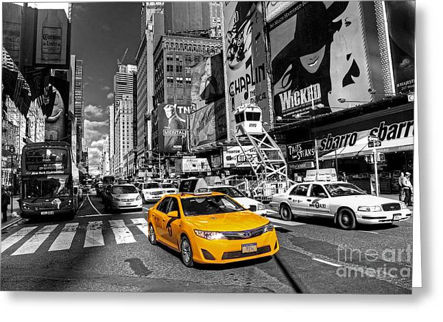 Times Square Taxi  Greeting Card by Rob Hawkins