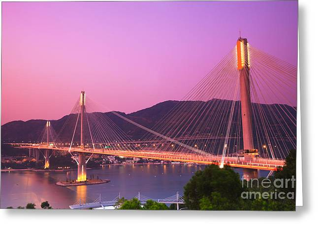 Ting Kau Bridge Greeting Card by MotHaiBaPhoto Prints