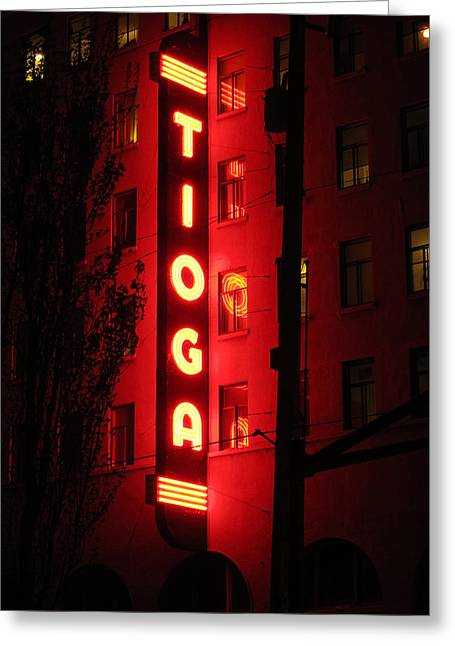 Tioga Hotel In Coos Bay Oregon Greeting Card by Gary Rifkin