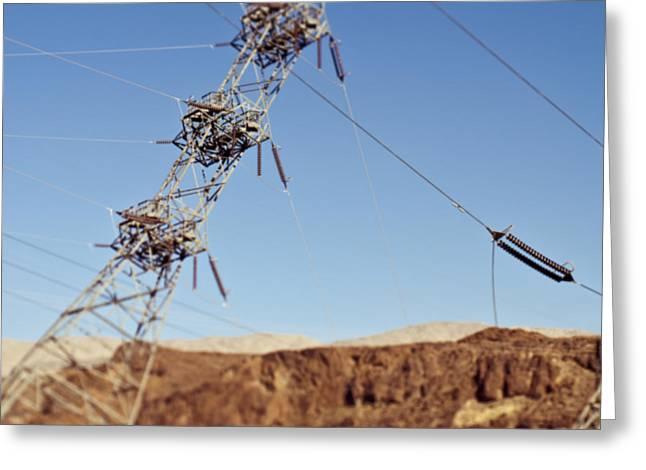 Tipping Pylon In The Desert Greeting Card by Eddy Joaquim
