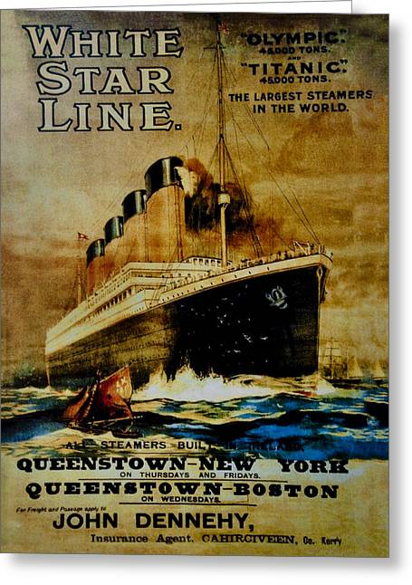 Titanic - White Star Line Greeting Card by Bill Cannon